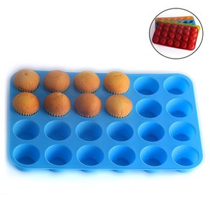 24 Hole Muffin Cup Mold Silicone Cake Cookies Jelly Biscuit Baking Tray Cake Cup Baking Mold Mixed Color Send