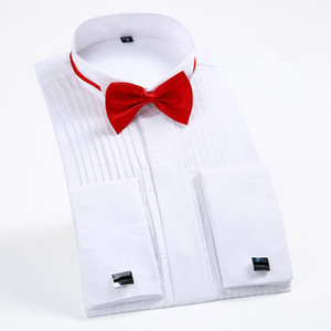 "dos homens do smoking camisas com punhos franceses e Bow Tie 1/4"" Cocktail casamento plissados ​​manga comprida Branco Prom Party Dress Evening shirt"