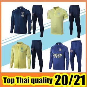 2020/21 Chándal de fútbol Arsenal Chaqueta con cremallera 2020 2021 hombres chandal futbol traje de entrenamiento para correr traacksuit Polo suit