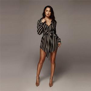 Damen Striped Bow Shirt Kleid Frau Sommer A-line Revers Hals Langarm Sexy Kleider Frauen Mode Kleidung