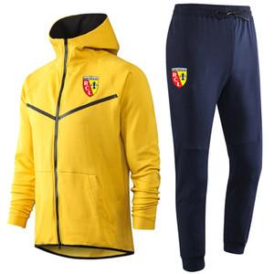 2020-21 Ligue 1 RC Lens Kapşonlu futbol eşofman ceket takımları 20 21 Survetement RC Lens eğitim takım elbise futbol eşofman ceket Koşu Setleri