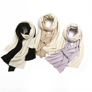 2020 new scarf shawl knitted double-sided pure wool shawl contrast color mosaic scarf dual-purpose women