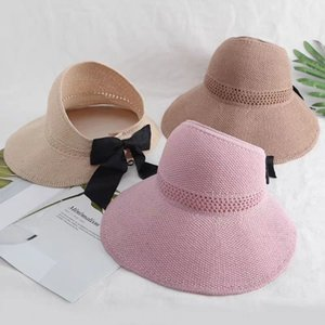New hipster empty top sunscreen summer travel tie Ponytail Bow Foldable Beach big brim straw hat butterfly straw hat