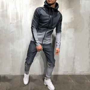 Cremallera del chándal de los hombres Conjunto Sporting 2 Piezas Sweatsuit Hombres Ropa Impreso con capucha capucha de la chaqueta de los pantalones trajes de pista masculino Dec28