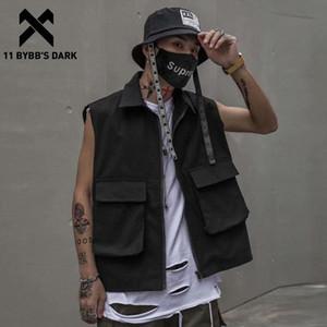11 Dark BYBB Vintage multi tasche maglia tattica modo degli uomini di Hip Hop senza maniche Tops 2020 Streetwear Harajuku Maschio merci Cappotti WPWN #