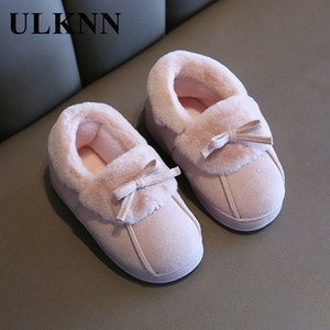 ULKNN Baby Winter Slippers For Girl 2020 New Children Boys Indoor Fur Plush Bowknot Home Shoes Soft Bottom Non-Slip