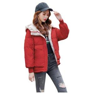 Student Short Hooded Winter Jacket BIO Down Coat Female Oversize Jacket Cotton Padded Wadded Parkas Big Pocket