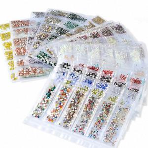 Y-XLWN Nail piatto dimensioni strass fondo di vetro sub-confezionato commercio un trapano 20 adesivi per unghie internazionali HqnB #