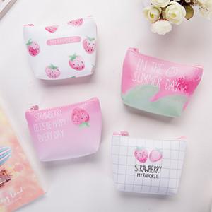 Portamonete BILLTERA dolce fragola donne della borsa di cuoio della moneta di colore rosa breve portafoglio PU per ragazze carine monete sacchetto carte chiave deposito di borsa