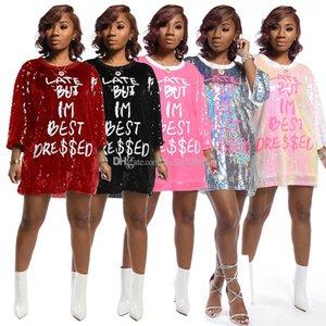 Neuheit LATE ABER IM BESTEN DRESS Letter Print lose Pailletten Tops für Frauen mit Rundhalsausschnitt Hip Hop Club Party Damen Shirts Kleid