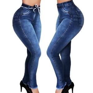 Donne Stretch Slim Jeans coreana del merletto di modo solido a colori ad alta vita in su Bordatura piedi casual Denim Pantaloni