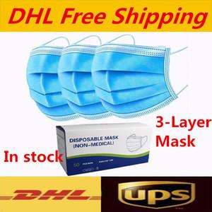 Vem com uma caixa descartável Máscaras grossas Máscaras 3 camadas com Earloops para Salon, Casa utilização confortável Máscara de transporte gratuito