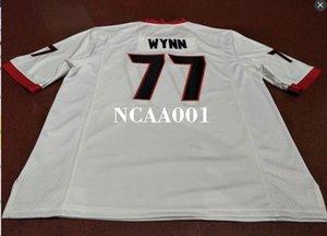 Мужчины # 77 Исайя Wynn Roquan Смит Грузия Бульдоги красный черный белый колледжа Джерси или настраиваемое любое имя или номер джерси