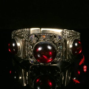 Old silver retro filigree cloisonne inlaid ruby wide bracelet antique opening transfer bracelet classical jewelry silver jewelry