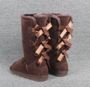 2020 Nova 7803 botas de grife Austrália mulheres menina botas de neve clássico luxo bowtie tornozelo Meio arco inverno bota de pele preto Castanha