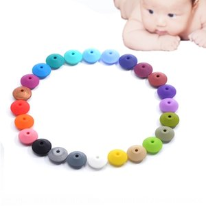New Diy Silica Silicone DIY handmade abacus 12mm flat beads pacifier anti-drop chain accessories loose beads