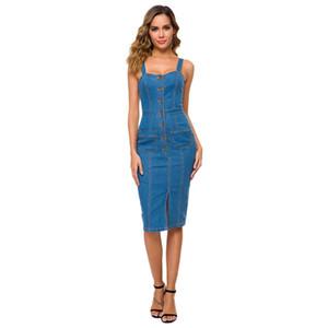 여성 sundress에 민소매 스트랩 버튼 포켓 청바지 드레스 블루 캐주얼 데님 드레스 미디 여름 의상