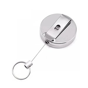 Retractable Keychain Metal Card Badge Holder Belt Clip Key Ring Metal Buckle Recoil Ring Pull Gift HHA1266