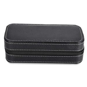 2 Grids PU Leather Travel Watch Storage Case Zipper Wristwatch Box Organizer (Black)
