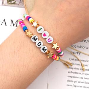 Women Boho Bracelets Multicolored Polymer Clay Beads Star Rainbow Stretch Bracelet 2020 New Fashion Bohemian Beach Charm Bracelet Jewelry