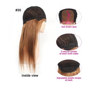 KISSHAIR straight human hair lace front wigs 4*4 lace closure #8 ash brown #27 honey blonde #30 medium auburn Brazilian human hair wig