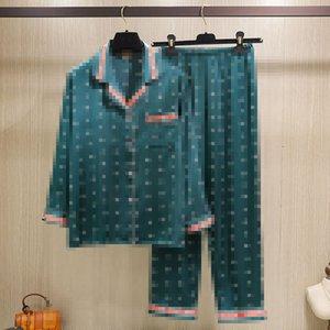 Весна и лето Шелковый Женская пижама Полный Bee Печатный сатин женщин пижамы девушки досуг рубашки Главная Одежда Наборы