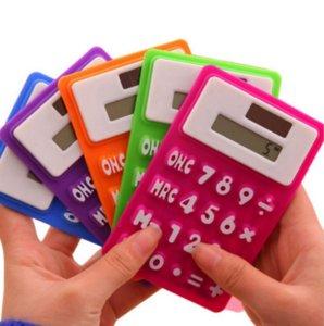 Mini Calculator dobrável Calculator Silicone Energia Solar candycolor criativo Cartão Estudante Magnetic Calculadora Escola Use ferramenta de escritório