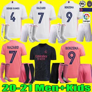 Homens crianças KIT 20 21 Real Madrid camisa PERIGO DE SERGIO RAMOS BENZEMA futebol camiseta de fútbol 20 21 VINICIUS JR camisa de futebol uniformes