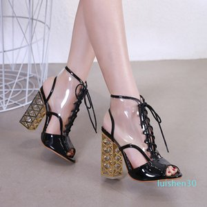 2019 nude PVC lace up thick heel shoes women designer shoes size 34 to 40 l30