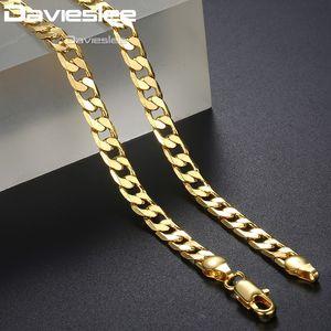 Davieslee Halskette für Männer Jungen 4mm gemessert Curb Cuban Kette gelbes Gold füllte der Männer Halskette DGN27