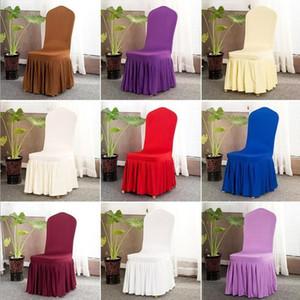 Chaise Jupe couverture de mariage Banquet Chaise Protecteur Housse décor Jupe plissée style chaise Housses de chaise élastique Spandex Couvre DHC548