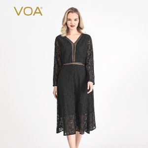 VOA Black Lace Burr Deep V-neck Hollow-out Long-Sleeved Slim-Fit Double-Layer Sexy Midriff Outfit Elegant Dress AH55