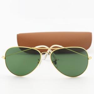 뜨거운 판매 높은 품질 남성 여성 선글라스 운전 일 골드 금속 프레임 녹색 UV400의 58mm 렌즈는 브라운 상자를 이리 안경