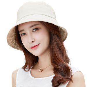 FANCET Linen Summer Sun Hat For Women Bucket Caps Feminino Praia Chapeau Femme Wide Brim UPF50+ UV Chin Strap Hats Fashion 89009 Y200716