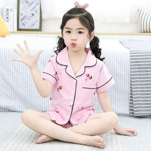 Girls Pajamas 2020 summer short Sleeve Children's Sleepwear Set cotton Pajamas Set Boys Pyjamas Sets for Kids Tracksuit