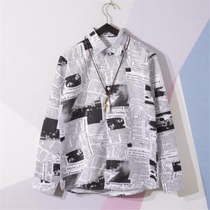 Camisas de hombre de la calle desgaste del verano ocasional de la camisa periódico impreso camiseta de manga larga playa de Hawaii Harujuku masculino blusa