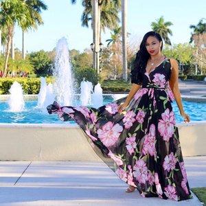 Ten colors European and American fashion casual women's dress deep V sleeveless breathable chiffon elegant printed beach skirt