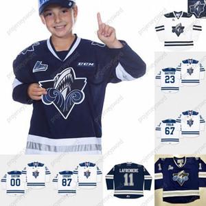 CHL Rimouski Oceanic 11 Alexis Lafreniere 23 Frederik Gauthier 67 Michael Frolik 87 Sidney Crosby Hokey su maglie bianco blu navy