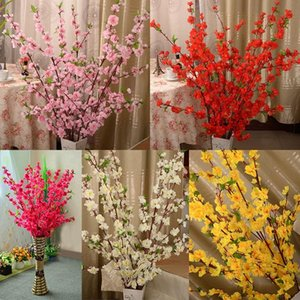 Artificial Cherry Spring Plum Peach Blossom Branch Silk Flower Tree For Wedding Party Decoration white Red Yellow Pink Wholesale 20190108