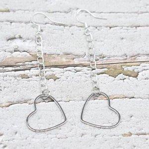 Hollow tassel heart Dangle Earrings Vintage Silver Fish Ear Hook 50pairs Charms Chandelier Earrings Jewelry Gift Bijoux