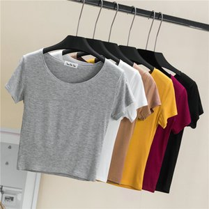 Short Sleeve Short T-shirt Womens Casual Solid O-Neck Tee T-shirt Tops Summer White gray Shirt Tees Clothes Cropped