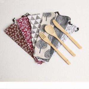 Japanese Style Portable Tableware Set Bamboo Knife Spoon Fork with Drawstring Cloth Bag Cutlery Set WB388