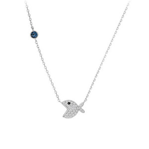 Simple Fashion Jewelry 925 Sterling Silver Fish bone Pendant Pave White Sapphire CZ Diamond Gemstones Party Women Clavicle Necklace Gift
