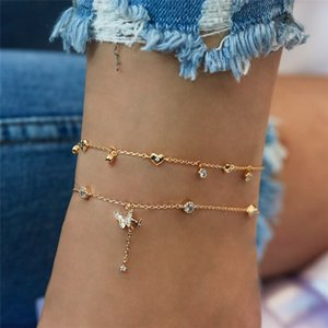 Gold Ankle Bracelets For Women 2020 New Fashion Crystal Butterfly Heart Multi-layer Anklet Female Simple Leg Chain Foot Jewelry T200714