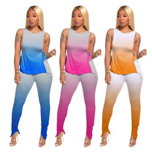 Gradient Women Two Piece Pants Sleeveless tshirt with Side Straps and Stacked Zipper Pants Womens 2 Piece Outfit Sets