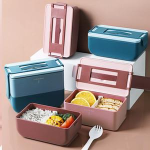 Элегантные пластиковые коробки обед с ручкой PP Bento Boxes Resuable еды Prep Контейнеры для хранения продуктов Открытый Контейнер Микроволновая печь Heating Box