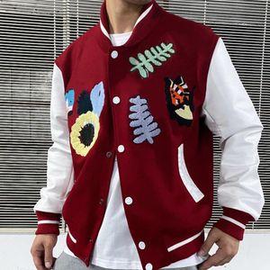 Мода Varsity животных Письмо Полотенце вышивки Жакеты крючок Цветочного Baseball Jacket High Street Пара Женщина Мужские пальто HFXHJK105