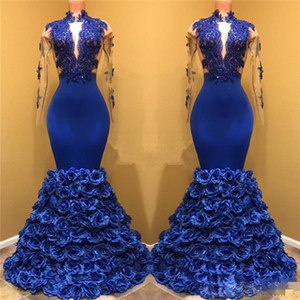 Royal Blue Black Girls Mermaid Evening Dresses Long Sleeves Lace Applique Keyhole Neck Prom Dresses 3D Rose Flowers Pageant Gowns