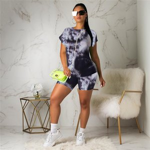 Summer Women 2Pc Outfits Die-tyeing Printed Clothes Set Short Sleeve Tops Tee+ Shorts Pants Casual Sport Suit Tracksuit 2020