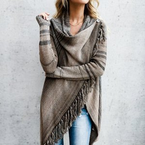 2019 New vetement femme Women Tassel Irregular Cardigan Knitted Sweater Poncho Shawl Coat Jacket Outwear Warm Windproof Overcoat